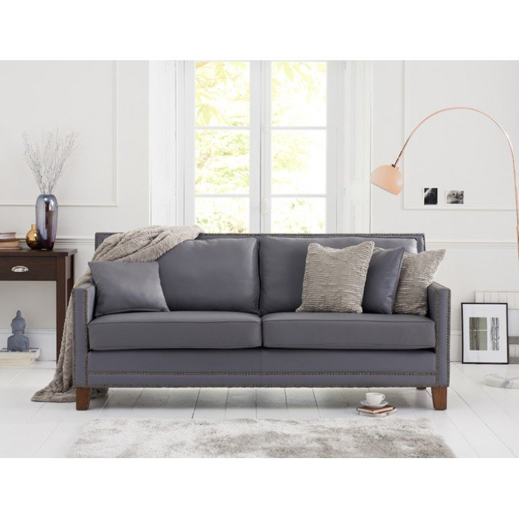 Arundel Furniture Grey Leather Upholstery 3 Seater Sofa