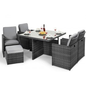 Maze Rattan Garden Furniture Grey 4 Seater Cube Set with Footstools