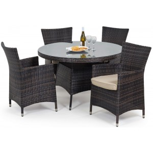 Maze Rattan Garden Furniture Miami Brown 4 Seater Round Table Set