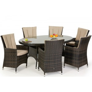 Maze Rattan Garden Furniture LA Brown 6 Seater Oval Dining Table Set