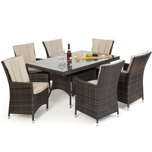 Maze Rattan Garden Furniture LA Brown 6 Seat Rectangle Dining Set