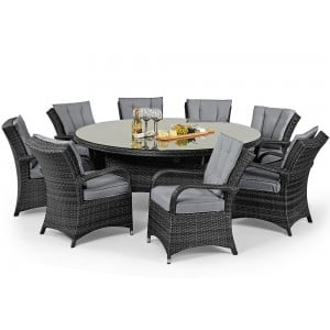 Maze Rattan Garden Furniture Texas 8 Seater Round Table Set in Grey