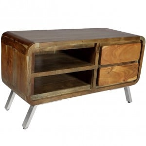 Aspen Reclaimed Iron & Wooden Furniture 2 Drawer TV Cabinet