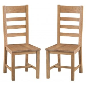 Colchester Rustic Oak Furniture Ladder Back Chair Wooden Seat Pair