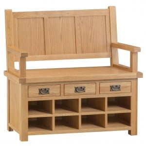 Colchester Rustic Oak Furniture Monks Bench