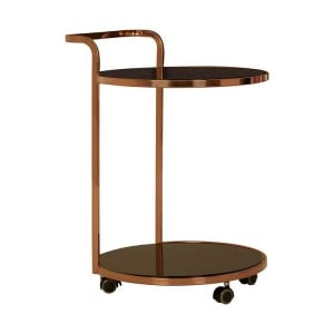 Ackley 2 Tier Gold Finish Metal and Black Glass Drinks Trolley