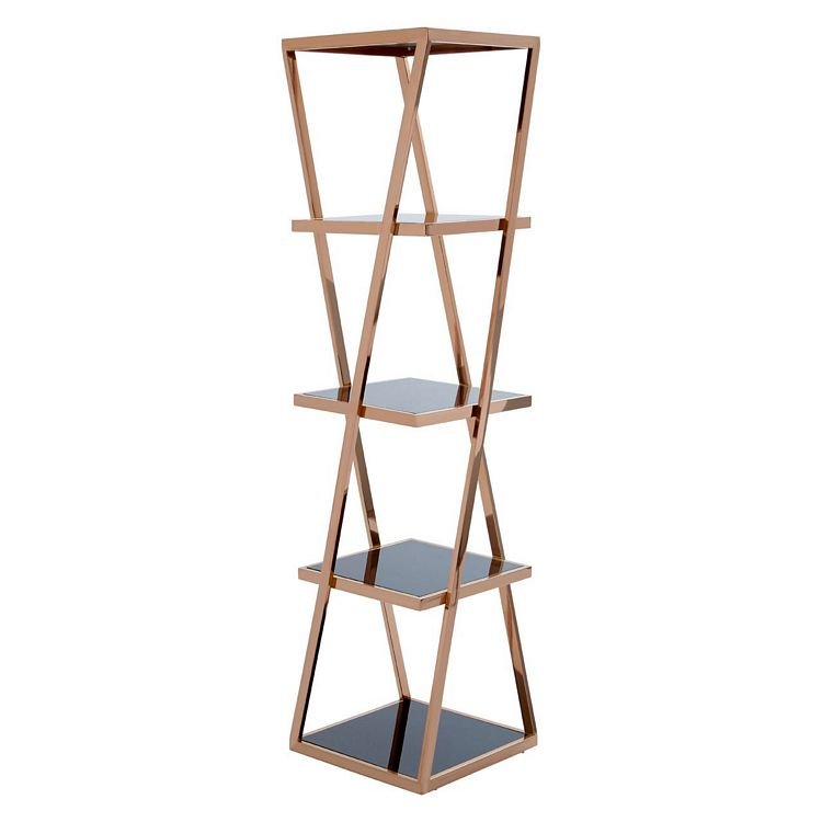 Ackley 5 Tier Rose Gold Metal and Black Glass Shelf Unit