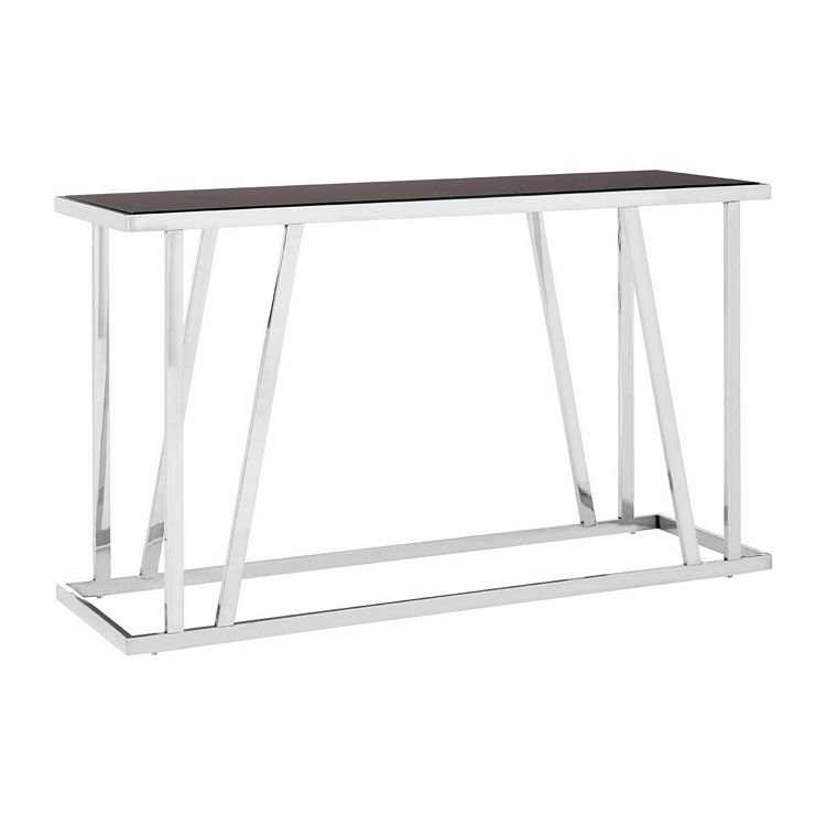 Ackley Chrome Metal Console Table With Black Glass Top