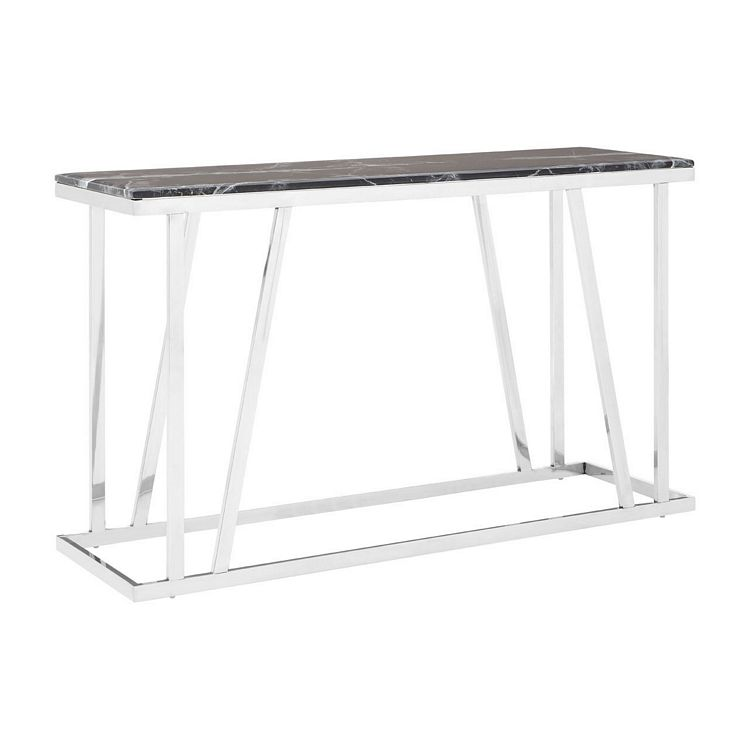 Ackley Chrome Metal Console Table With Black Marble Top