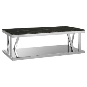 Ackley Chrome Metal and Black Marble Top Coffee Table