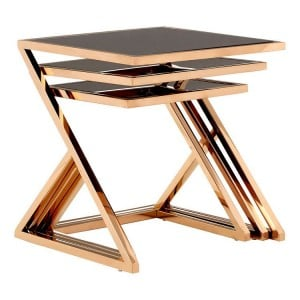 Ackley Set Of 3 Rose Gold Finish Metal and Black Glass Nesting Tables