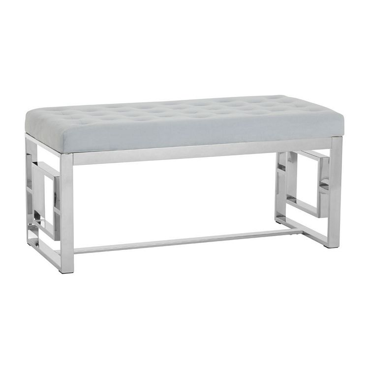 Allure Grey Velvet and Silver Finish Stainless Steel Bench