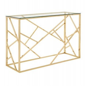 Allure Champagne Gold Finish Metal Geometric Console Table