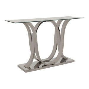 Allure Chromed Metal Curved Base and Clear Glass Console Table