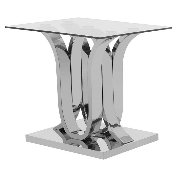 Allure Chromed Metal Curved Base and Clear Glass End Table