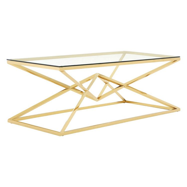 Allure Corseted Champagne Metal and Clear Glass Coffee Table