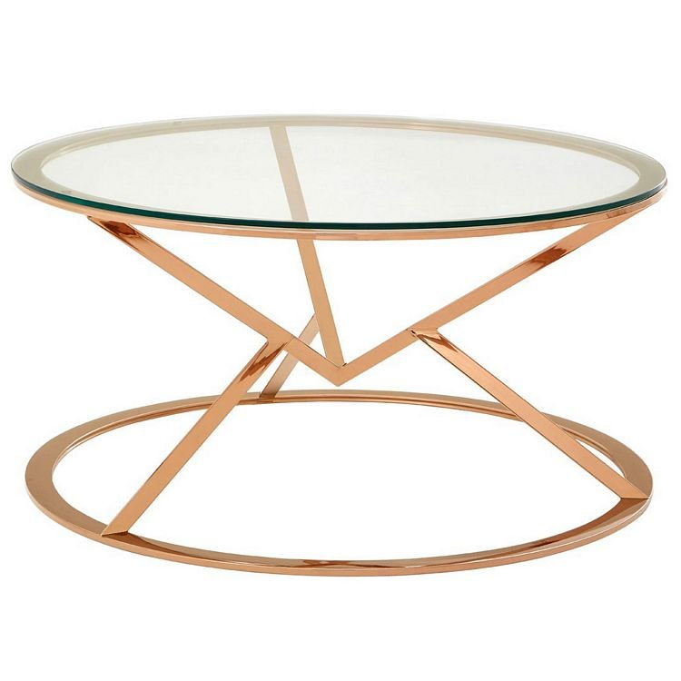 Allure Corseted Round Rose Gold and Clear Glass Coffee Table