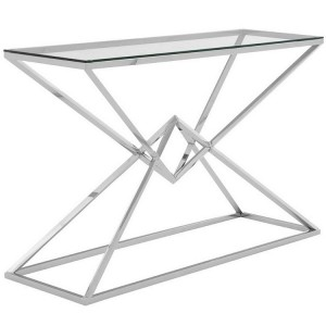 Allure Corseted Silver Stainless Steel and Clear Glass Console Table