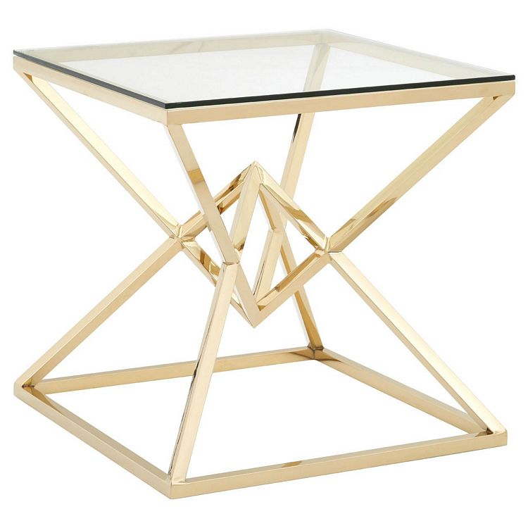 Allure Corseted Square Champagne Gold and Clear Glass End Table