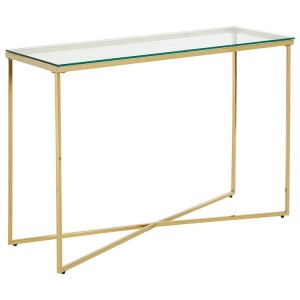 Allure Gold Chromed Metal Cross Base and Clear Glass Console Table