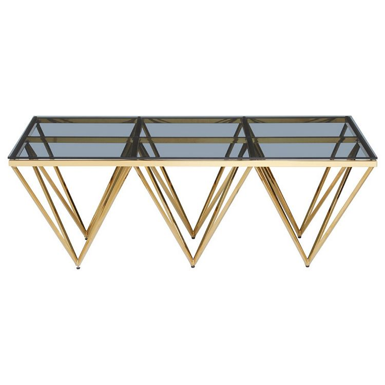 Allure Gold Spike Triangles and Black Glass Coffee Table