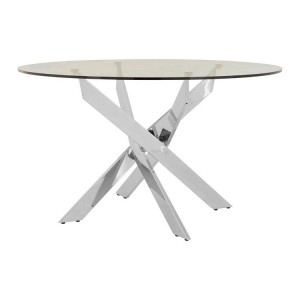 Allure Intersected Chrome and Clear Glass Round Dining Table