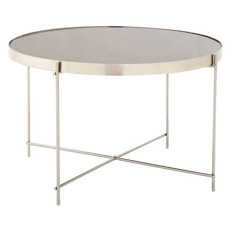 Allure Large Grey Mirrored Glass And Brushed Nickel Metal Side Table