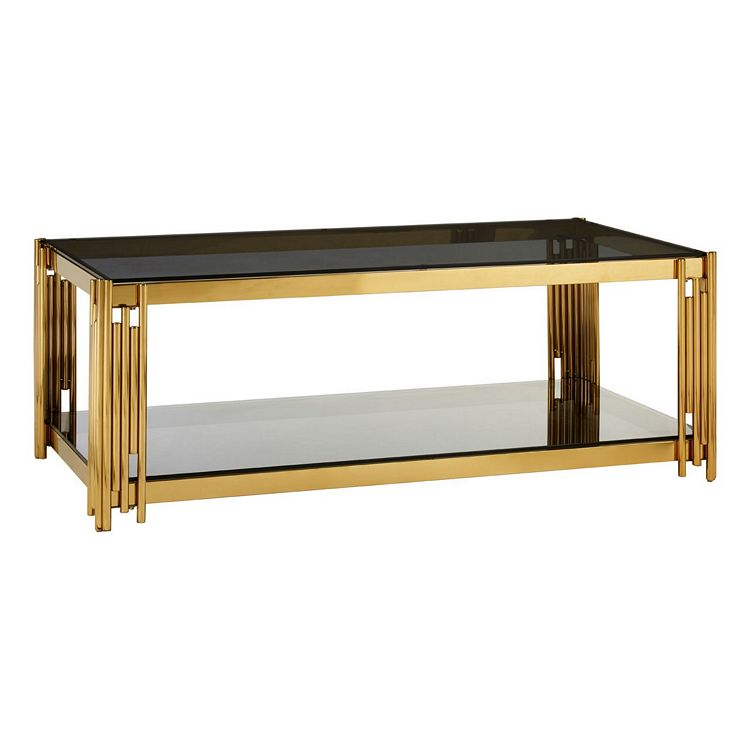 Allure Linear Design Chromed Metal and Black Glass Coffee Table
