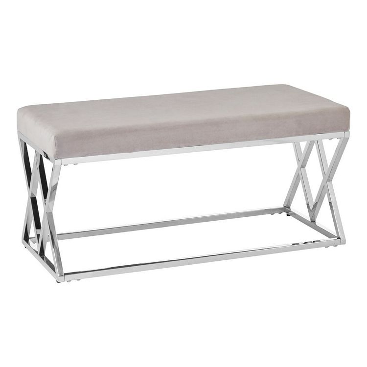 Allure Mink Seat and Silver Finish Metal Bench