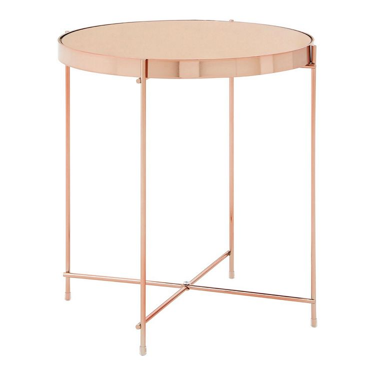 Allure Pink Mirrored Glass And Rose Gold Metal Low Side Table