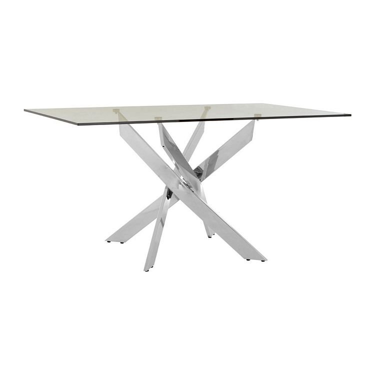 Allure Rectangular Chrome Metal and Clear Glass Dining Table