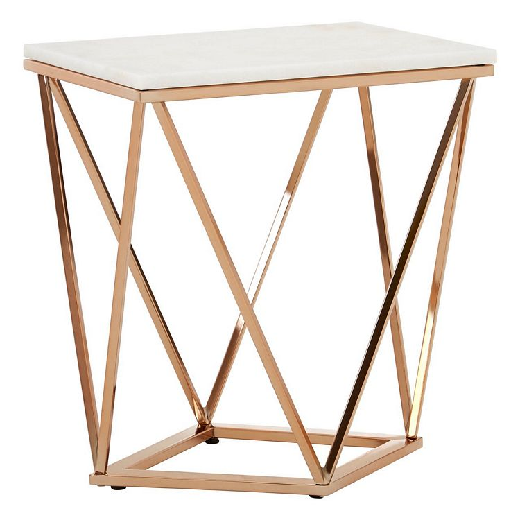 Allure Rectangular Rose Gold and White Marble End Table