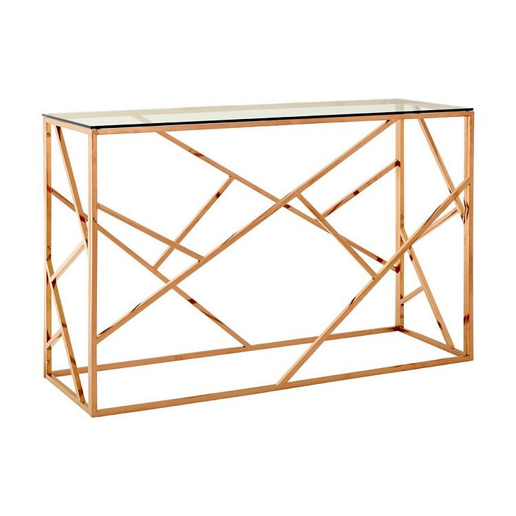 Allure Rose Gold Metal and Clear Glass Geometric Console Table