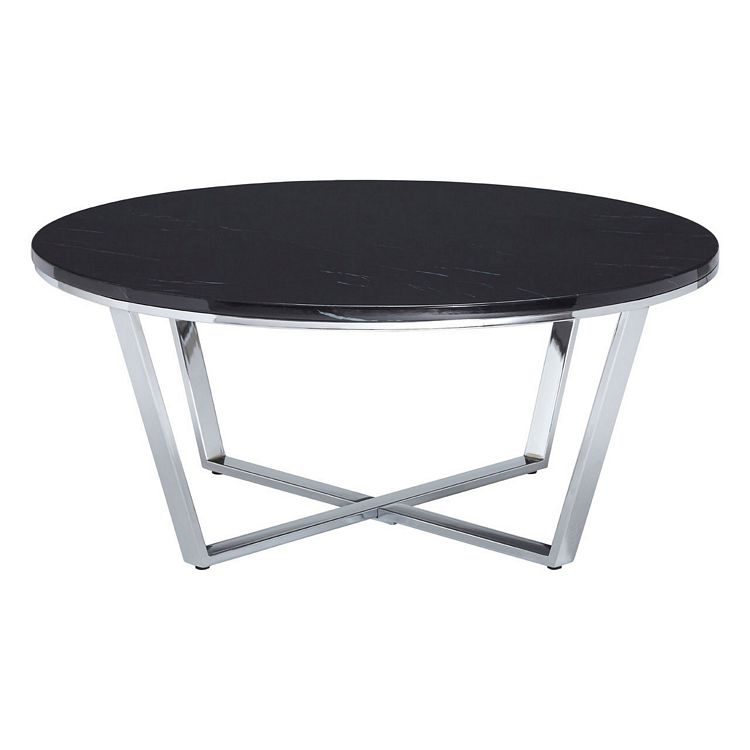 Allure Round Black Faux Marble and Metal Coffee Table