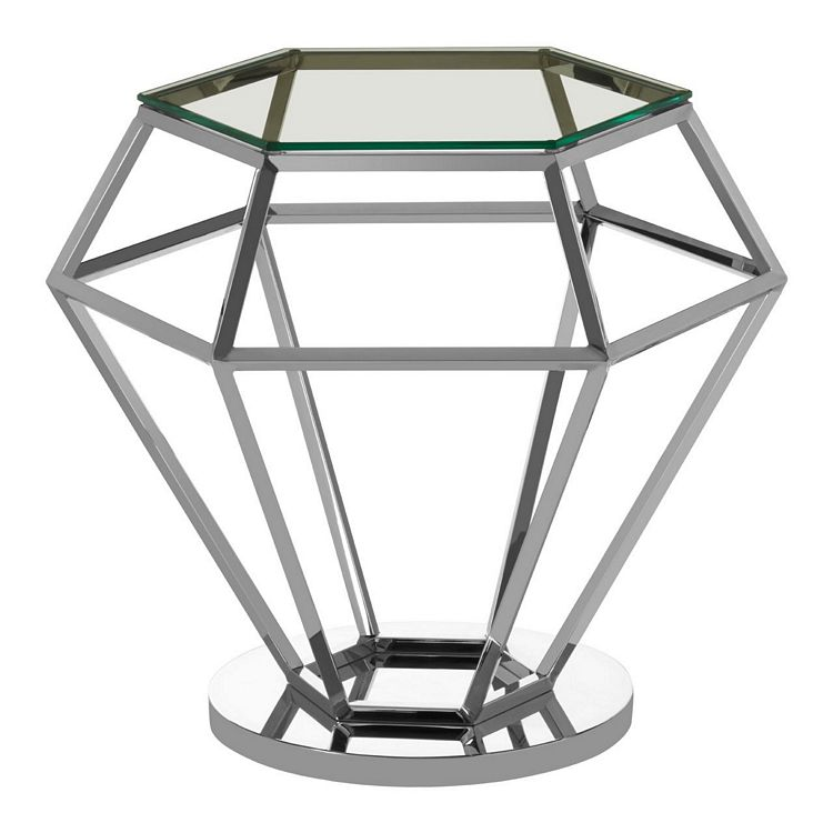 Allure Silver Finish Metal and Clear Glass Diamond End Table