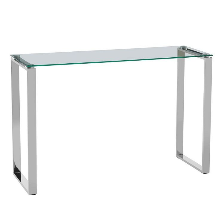 Allure Silver Stainless Steel Sled Legs and Clear Glass Console Table