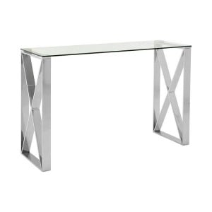 Allure Silver Stainless Steel and Clear Glass Console Table