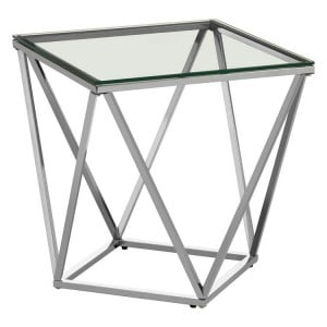 Allure Small Twist Chromed Metal and Clear Glass End Table