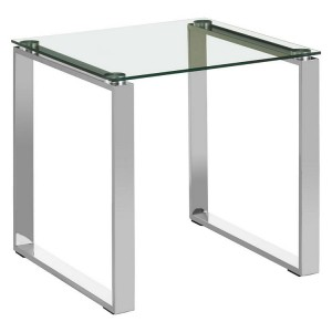 Allure Square Chromed Metal and Clear Glass End Table