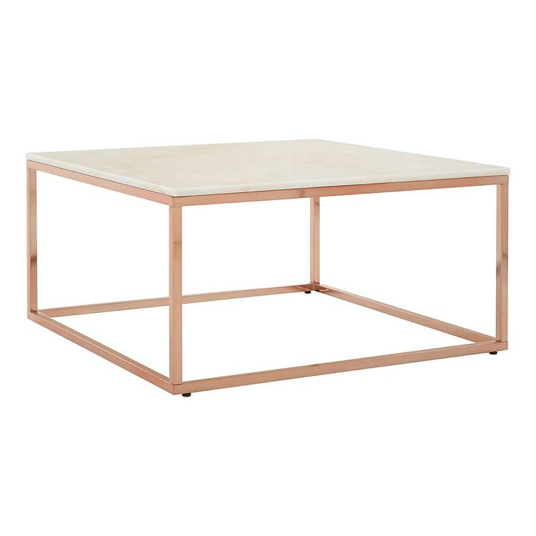 Allure Square Rose Gold and White Marble Coffee Table