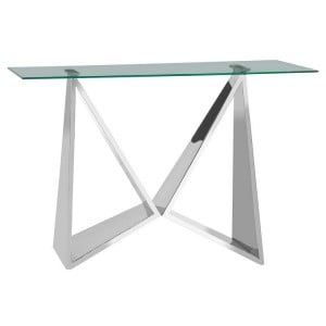 Allure Wing Base Silver Metal and Clear Glass Console Table