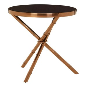 Alvaro Bamboo Inspired Rose Gold Finish Metal Base Side Table