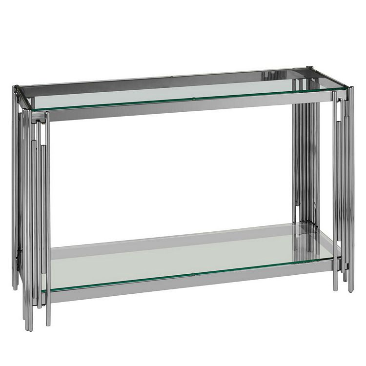 Alvaro Chromed Metal and Glass Console Table with Shelf