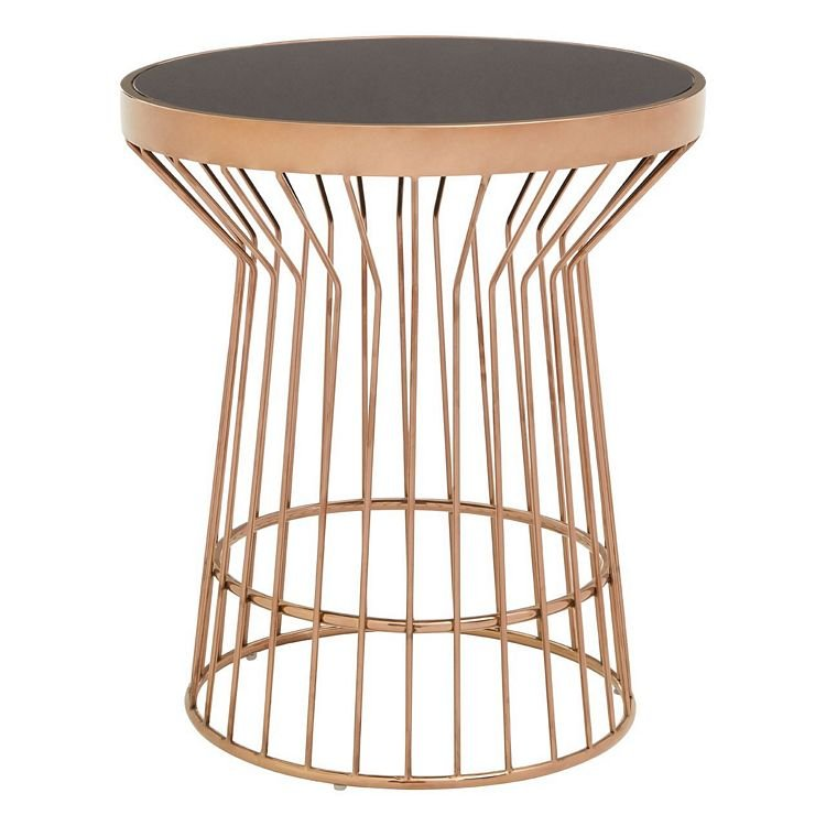 Alvaro Copper Finish Metal and Black Glass Round Side Table
