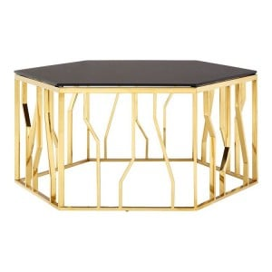 Alvaro Gold Finish Metal and Black Glass Hexagonal Coffee Table