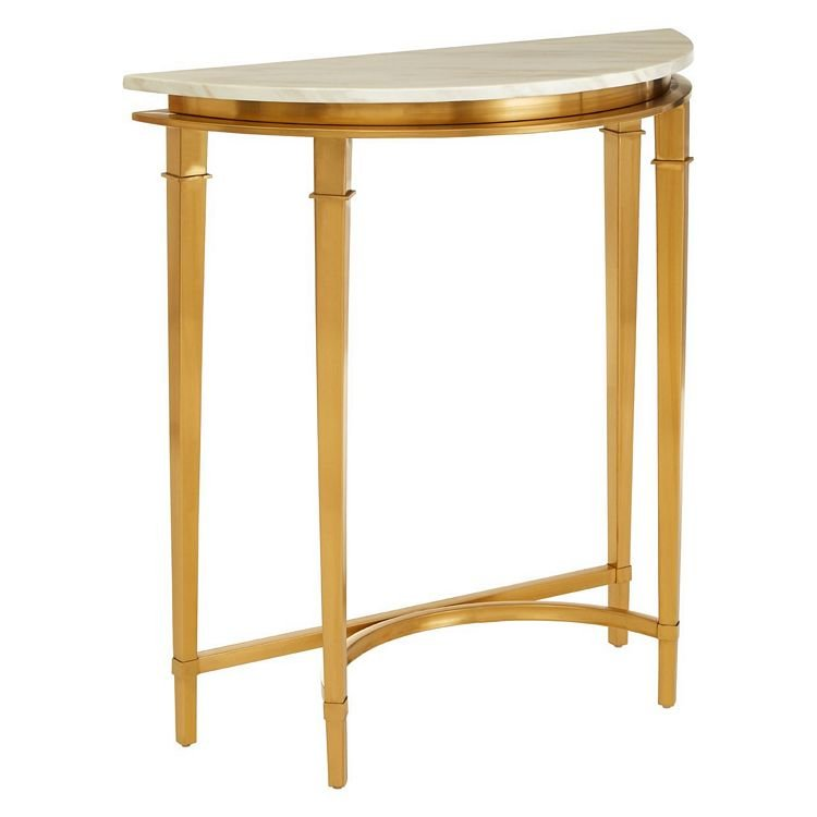 Alvaro Gold Finish Metal and White Marble Half Moon Console Table