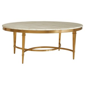 Alvaro Gold Finish Metal and White Marble Oval Coffee Table