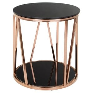 Alvaro Rose Gold Finish Metal and Black Glass Side Table