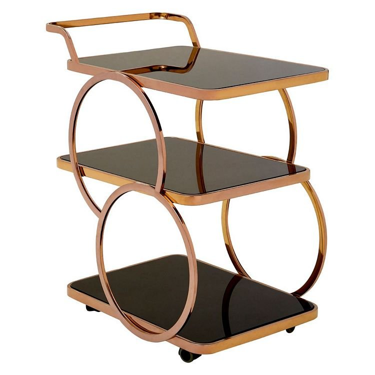 Alvaro Rose Gold Metal and Black Glass Drinks Serving Trolley
