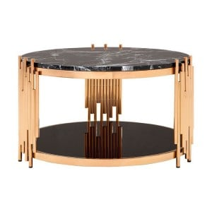 Alvaro Rose Gold Metal and Black Mable Top Glass Shelf Coffee Table